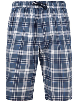 Redlock Checked Cotton Woven Lounge Pyjama Shorts In Medieval Blue - Tokyo Laundry