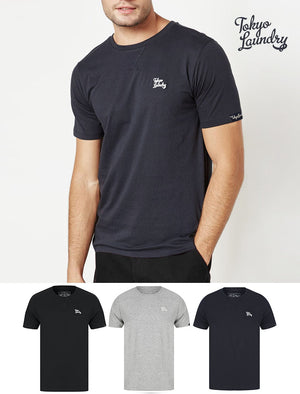 Rexel (3 Pack) Crew Neck Combed Cotton T-Shirts In Black / Grey Marl / Navy  - Tokyo Laundry