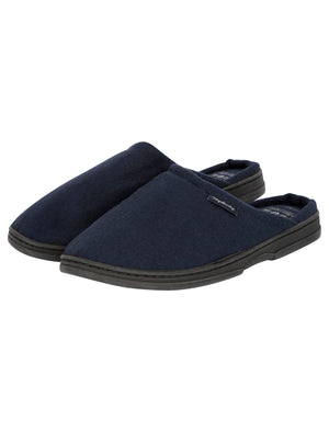 Rickman Mule Slippers with Brushed Check Lining in Navy – Tokyo Laundry