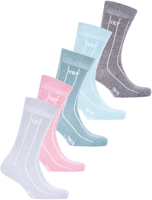 Rocksta (5 Pack) Cotton Rich Striped Marled Socks in Grey / Pink / Green / Blue / Black Marl - Tokyo Laundry