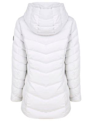 Safflower 2 Longline Quilted Puffer Coat with Hood In White - Tokyo Laundry