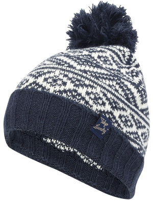 Men's Sandor Wool Blend Fairisle Print Bobble Hat in Navy - Tokyo Laundry