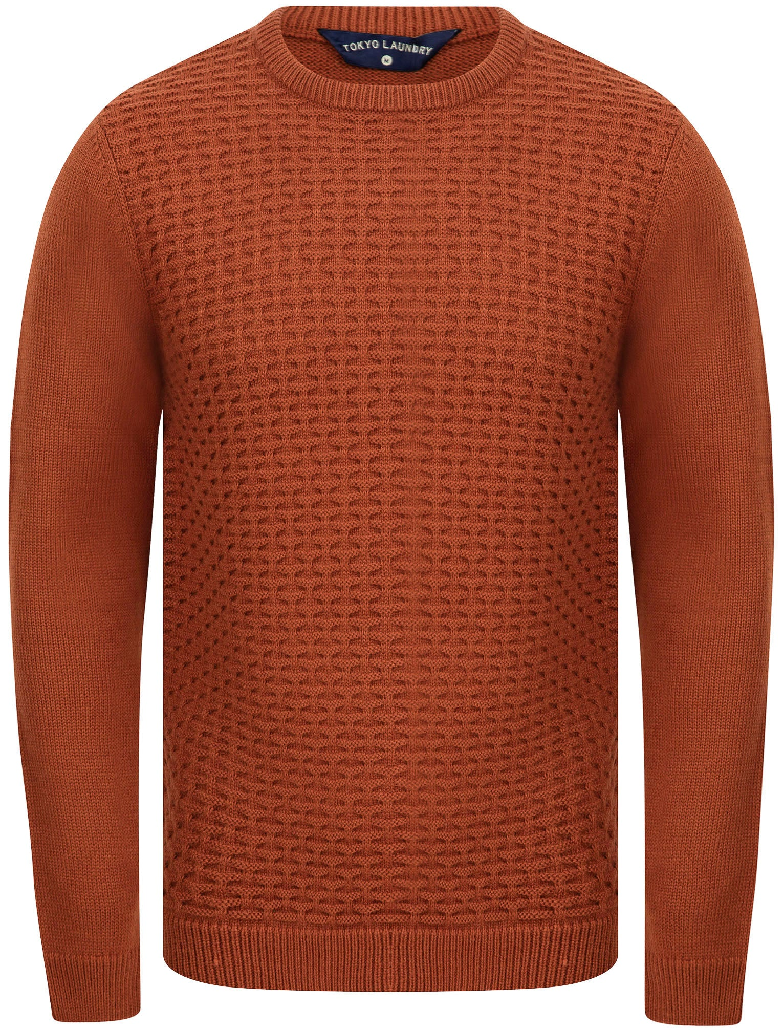 Men's Vintage Sweaters, Retro Jumpers 1920s to 1980s Jumpers Shikara Stitched Panel Wool Blend Knitted Jumper in Rust - Tokyo Laundry  L - Tokyo Laundry £24.99 AT vintagedancer.com