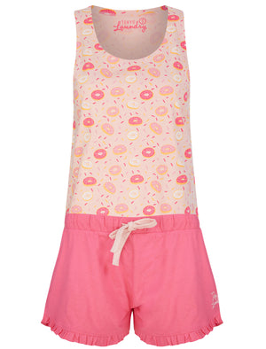 Sprinkles Doughnut Print 2 Pc Shortie Lounge Set in Crystal Rose / Hot Pink - Tokyo Laundry