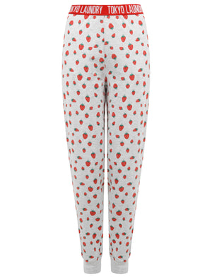 Strawberry Print 2pc Cotton Lounge Set in Light Grey Marl - Tokyo Laundry