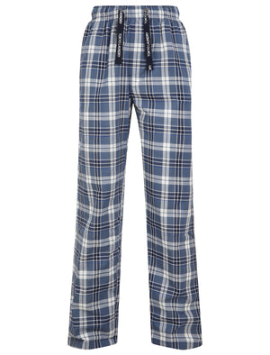 Summon Checked Cotton Lounge Pants in Medieval Blue - Tokyo Laundry