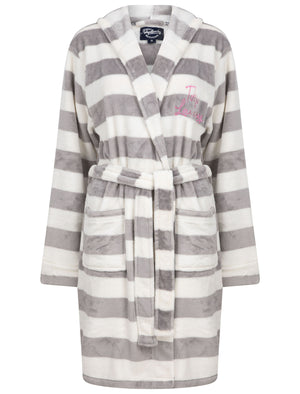 Surry Striped Soft Fleece Tie Robe Dressing Gown with Hood in Grey / White – Tokyo Laundry