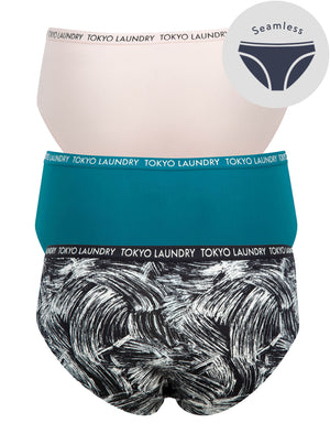 Talos (3 Pack) No VPL Seam Free Assorted Briefs In Cloud Pink / Corsair / Jet Black – Tokyo Laundry