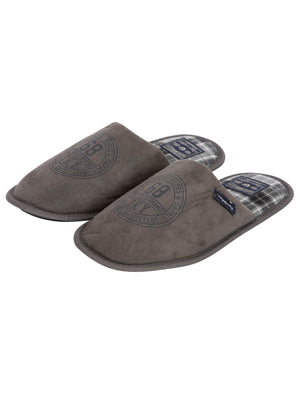 Taylored Fleece Lined Mule Slippers with Checked Lining in Grey – Tokyo Laundry