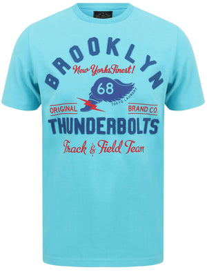 Thunderbolts Applique Motif Cotton Jersey T-Shirt In Blue Atoll – Tokyo Laundry