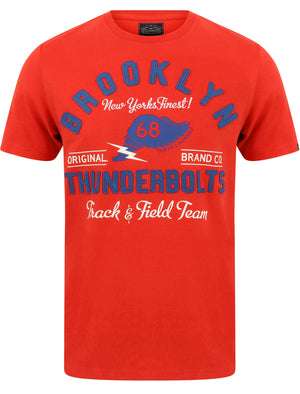 Thunderbolts Applique Motif Cotton Jersey T-Shirt In High Risk Red – Tokyo Laundry