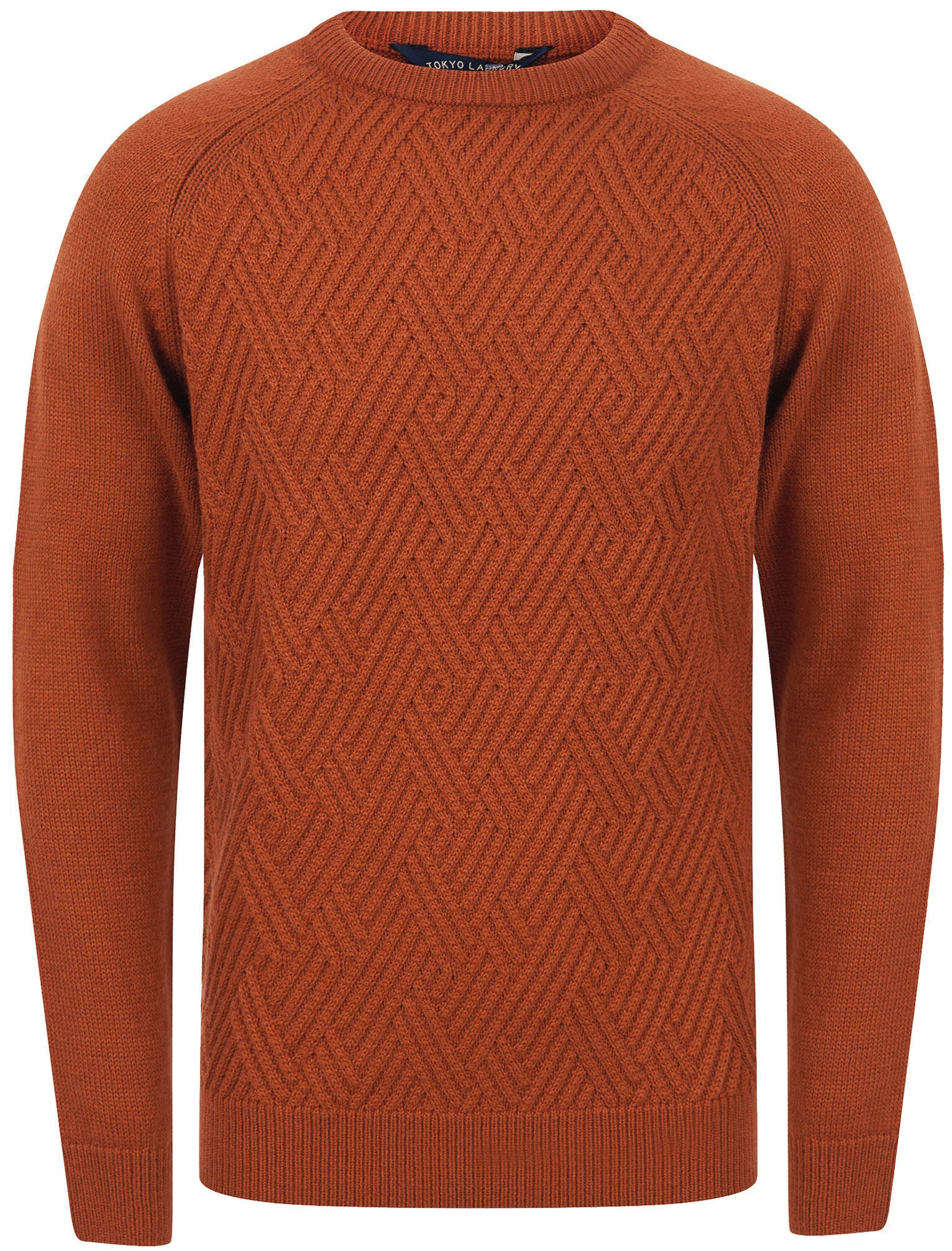 1970s Men's Clothes, Fashion, Outfits Jumpers Woodstock Diamond Texture Wool Blend Knitted Jumper in Rust - Tokyo Laundry  XXL - Tokyo Laundry £24.99 AT vintagedancer.com