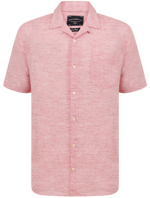 Yanni Notch Collar Short Sleeve Cotton Linen Shirt In Pink – Tokyo Laundry