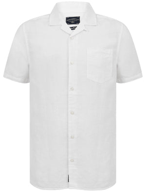 Yanni Notch Collar Short Sleeve Cotton Linen Shirt In White – Tokyo Laundry