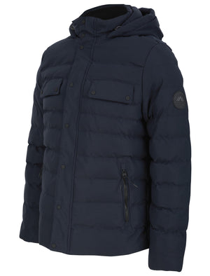 Yitro Quilted Puffer Coat with Hood In Sky Captain Navy - Tokyo Laundry