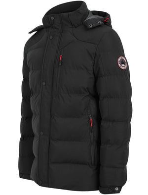 Yorkshire Quilted Puffer Coat with Hood In Jet Black - Tokyo Laundry