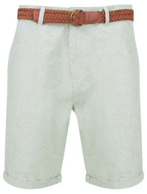 Zavier Cotton Chino Shorts With Woven Belt in Green Oxford – Tokyo Laundry
