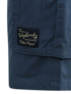 Benson Cargo Cotton Twill Shorts In Dark Denim - Tokyo Laundry