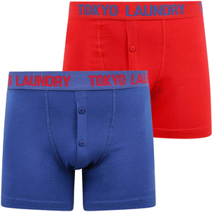 Bancroft (2 Pack) Boxer Shorts Set in Barados Cherry / Sea Surf Blue – Tokyo Laundry