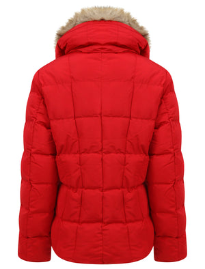 Bertie Funnel Neck Quilted Puffer Jacket With Detachable Fur Trim In Crimson - Tokyo Laundry