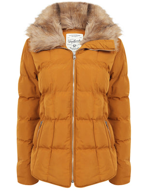 Bertie Funnel Neck Quilted Puffer Jacket With Detachable Fur Trim In Mustard – Tokyo Laundry