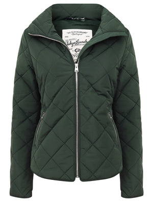 Braintree Funnel Neck Diamond Quilted Puffer Jacket In Dark Green – Tokyo Laundry