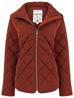 Braintree Funnel Neck Diamond Quilted Puffer Jacket In Smoked Paprika – Tokyo Laundry