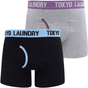 Brompton 2 (2 Pack) Boxer Shorts Set in Allure Blue / Grape Jam – Tokyo Laundry