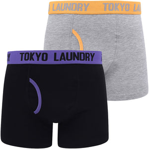Brompton (2 Pack) Boxer Shorts Set in Purple Opulence / Blazing Orange – Tokyo Laundry