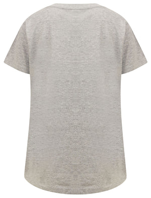 Cala Motif Cotton T-Shirt with Gold Foil Detail in Light Grey Marl – Tokyo Laundry