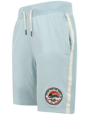Cali Beach Applique Jogger Shorts in Angel Falls Blue - Tokyo Laundry