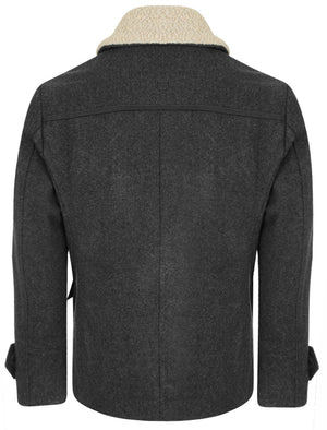 Avonte Wool Rich Double Breasted Coat with Borg Collar in Charcoal Marl – Tokyo Laundry
