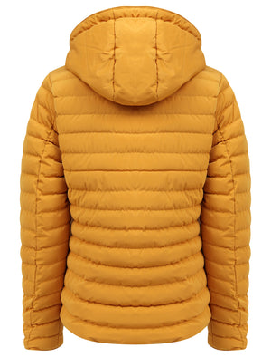 Geri Borg Lined Quilted Puffer Coat with Hood In Old Gold - Tokyo Laundry