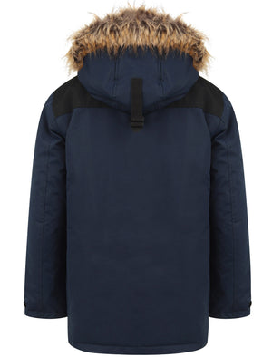 Haakon Colour Block Utility Parka Coat with Faux Fur Lined Hood in Iris Navy – Tokyo Laundry