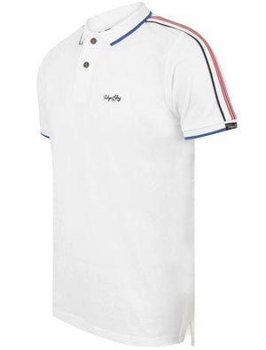 Hitch Cotton Pique Polo Shirt with Stripe Tape Detail In Bright White – Tokyo Laundry