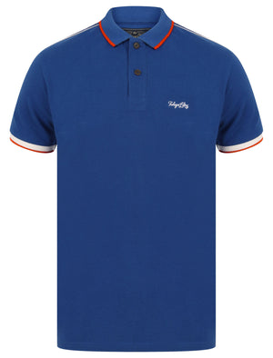 Hitch Cotton Pique Polo Shirt with Stripe Tape Detail In Sea Surf Blue – Tokyo Laundry