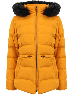 Jasmin Quilted Puffer Jacket With Faux Fur Trim Hood In Old Gold – Tokyo Laundry