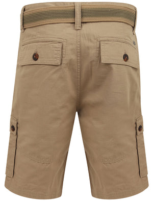 Laguna Ripstop Cotton Cargo Shorts with Belt In Chinchilla Stone - Tokyo Laundry