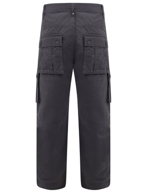 Marshland Cotton Twill Cargo Trousers In Asphalt - Tokyo Laundry
