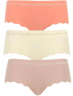 Milena (3 Pack) Scallop Trim No VPL Seam Free Assorted Briefs In Terracotta / Pristine / Shadow Grey – Tokyo Laundry