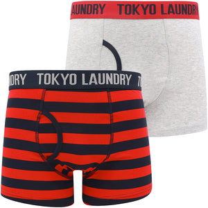 Needham (2 Pack) Striped Boxer Shorts Set in Barados Cherry / Light Grey Marl – Tokyo Laundry