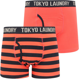 Neville 2 (2 Pack) Striped Boxer Shorts Set in Hot Coral / Sky Captain Navy - Tokyo Laundry