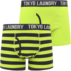 Neville 2 (2 Pack) Striped Boxer Shorts Set in Lime Green / Sky Captain Navy – Tokyo Laundry