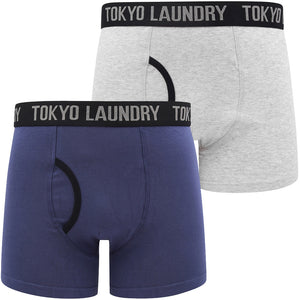 Oldfield (2 Pack) Boxer Shorts Set in Deep Cobalt / Light Grey Marl – Tokyo Laundry
