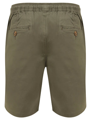 Orzola Cotton Shorts with Elasticated Waist In Dusty Olive - Tokyo Laundry