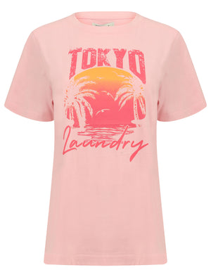 Palma Sunset Motif Cotton Jersey T-Shirt in Rose Shadow – Tokyo Laundry