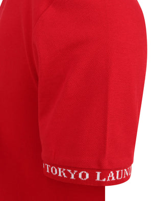 Resin Cotton Pique T-Shirt With Jacquard Cuffs In Barados Cherry - Tokyo Laundry