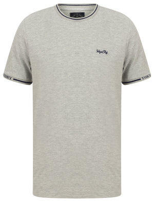 Resin Cotton Pique T-Shirt With Jacquard Cuffs In Light Grey Marl - Tokyo Laundry