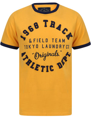 Shoshone Applique Motif Cotton Jersey Ringer T-Shirt In Jurassic Gold - Tokyo Laundry