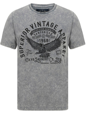 Springfield Motif Acid Wash Cotton Jersey T-Shirt In Grey – Tokyo Laundry